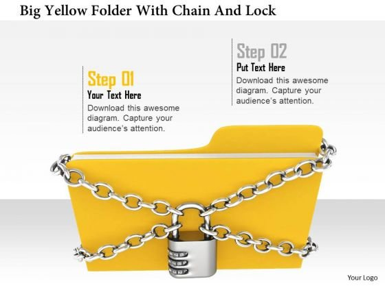 Stock Photo Big Yellow Folder With Chian And Lock PowerPoint Slide