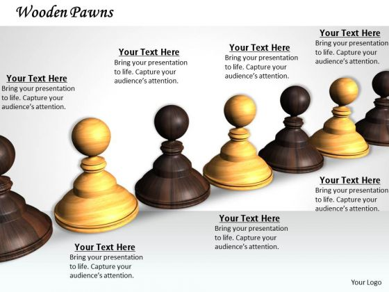 Stock Photo Black And White Chess Pawns PowerPoint Slide