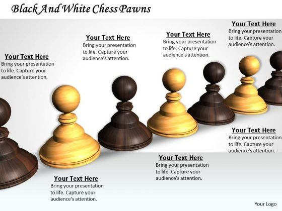 Stock Photo Black And White Chess Pawns PowerPoint Template