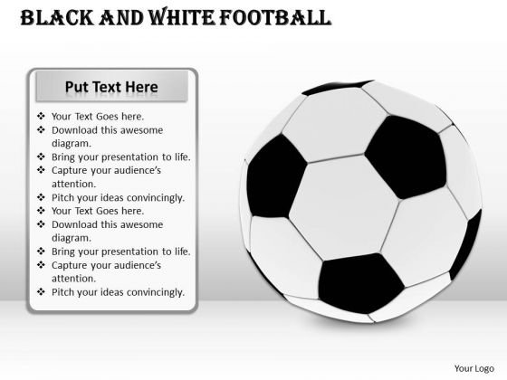 Stock Photo Black And White Football Game PowerPoint Slide