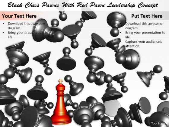 Stock Photo Black Chess Pawns With Red Pawn Leadership Concept PowerPoint Template