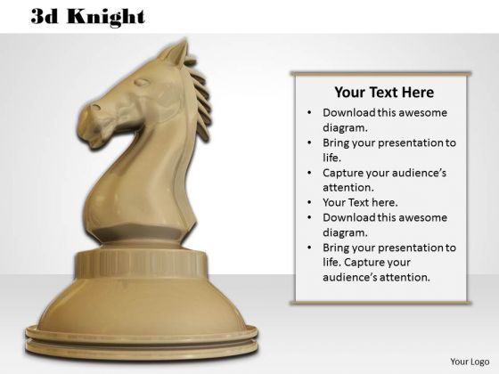 Stock Photo Black Colored Chess Knight PowerPoint Slide