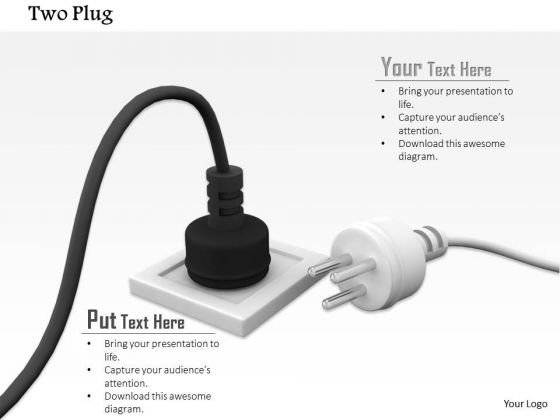 Stock Photo Black Electricity Plug In White Socket PowerPoint Slide