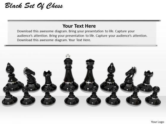 Stock Photo Black Set Of Chess Pawns PowerPoint Slide