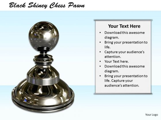 Stock Photo Black Shiny Chess Pawn PowerPoint Template