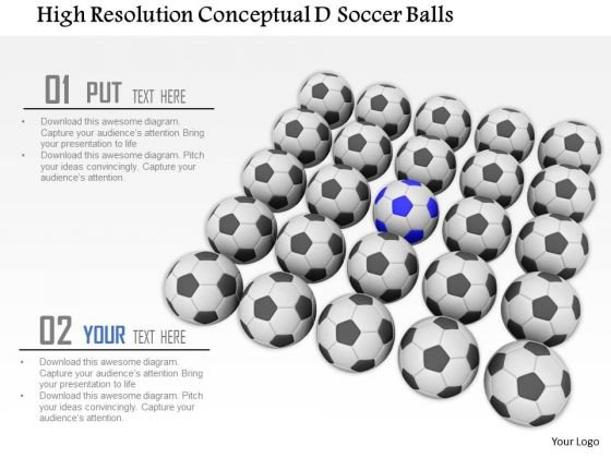 Stock Photo Black Soccer Balls One Blue Ball Conceptual PowerPoint Slide