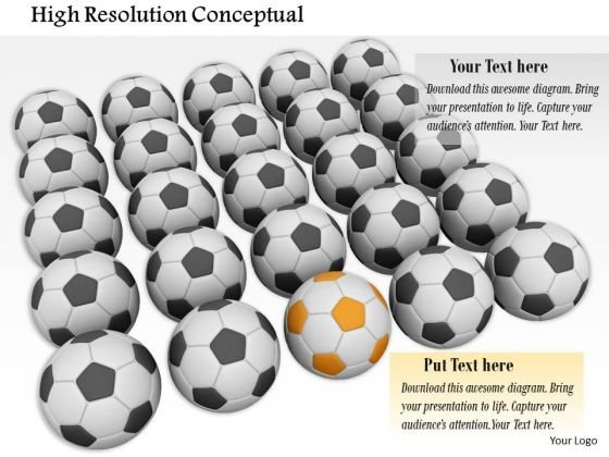 Stock Photo Black Soccer Balls With One Yellow Ball PowerPoint Slide