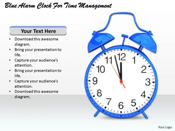 Stock Photo Blue Alarm Clock For Time Management PowerPoint Template