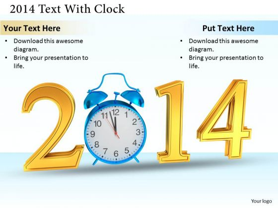 Stock Photo Blue Alarm Clock With 2014 Text Graphic PowerPoint Slide