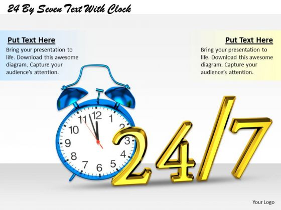 Stock Photo Blue Alarm Clock With 24 Hours And 7 Days Time Management PowerPoint Slide