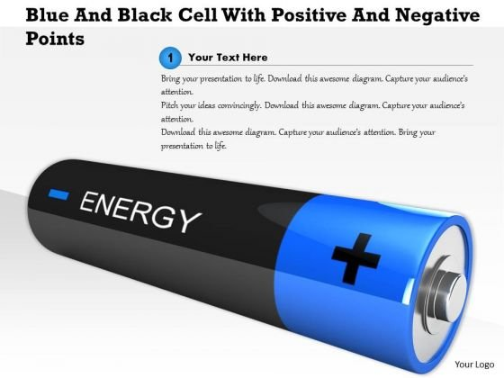 Stock Photo Blue And Black Cell With Positive And Negative Points PowerPoint Slide
