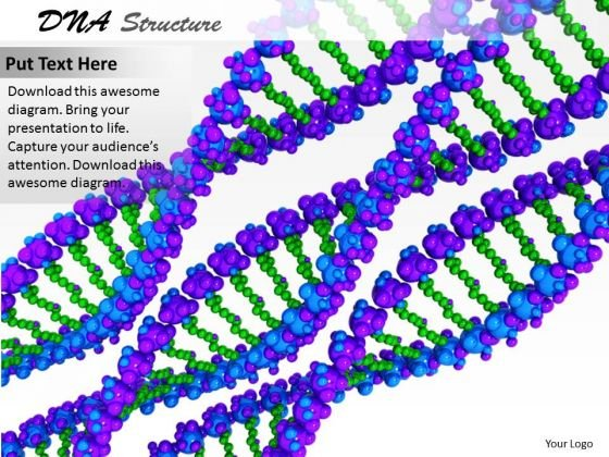 Stock Photo Blue And Green Dna Design For Chemical Study PowerPoint Slide