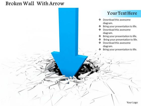 Stock Photo Blue Arrow Cracking The Surface PowerPoint Slide