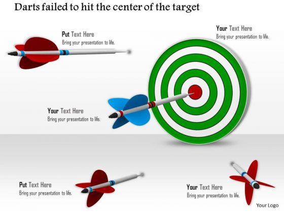 Stock Photo Blue Arrow Hitting Center Of Target PowerPoint Slide