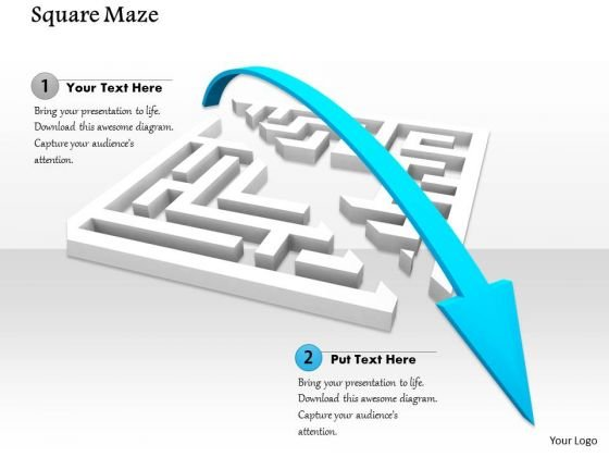 Stock Photo Blue Arrow Jumping Over The Maze PowerPoint Slide