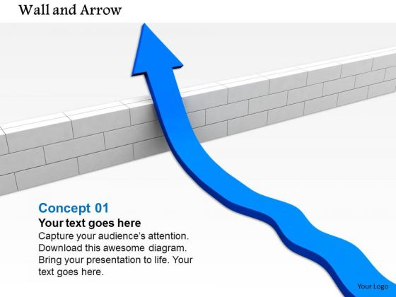 Stock Photo Blue Arrow Moving Across Above The Wall PowerPoint Slide