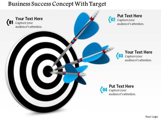 Stock Photo Blue Arrows Hitting On Target PowerPoint Slide