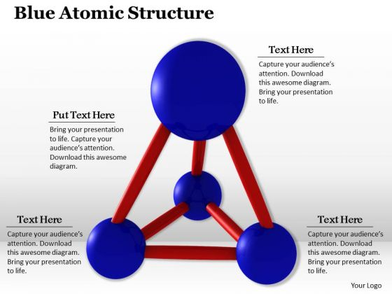 Stock Photo Blue Atomic Structure PowerPoint Template
