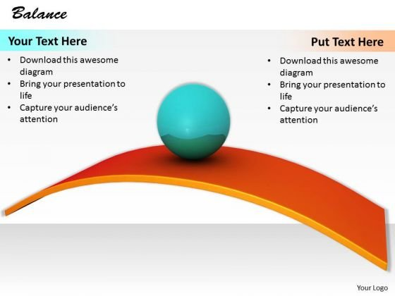 Stock Photo Blue Ball Balance On Orange Slide Path PowerPoint Slide