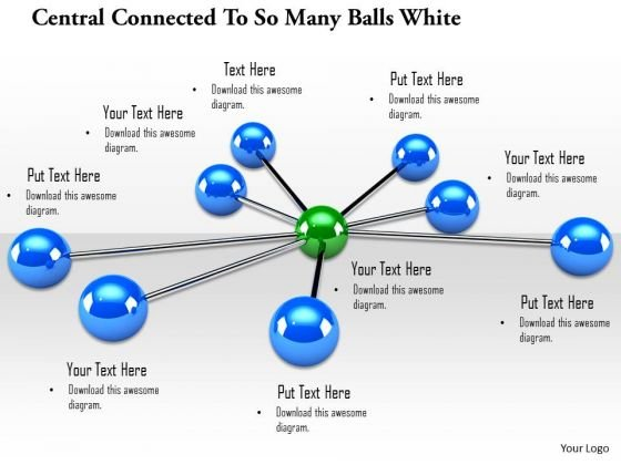Stock Photo Blue Balls Connected To Green Ball PowerPoint Slide