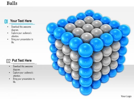 Stock Photo Blue Balls In Corners Of Silver Balls Cube PowerPoint Slide