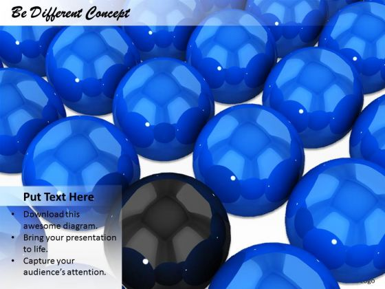 Stock Photo Blue Balls With One Black Ball For Leadership PowerPoint Slide