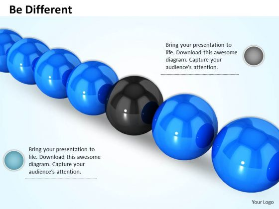 Stock Photo Blue Balls With One Black In Middle For Leadership PowerPoint Slide