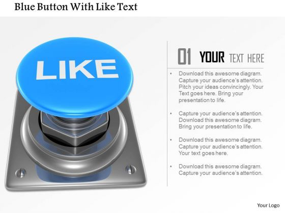 Stock Photo Blue Button With Like Text PowerPoint Slide