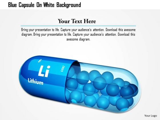 Stock Photo Blue Capsule On White Background PowerPoint Slide