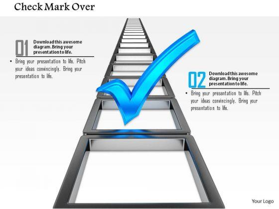 Stock Photo Blue Check Mark Over Ladder PowerPoint Slide