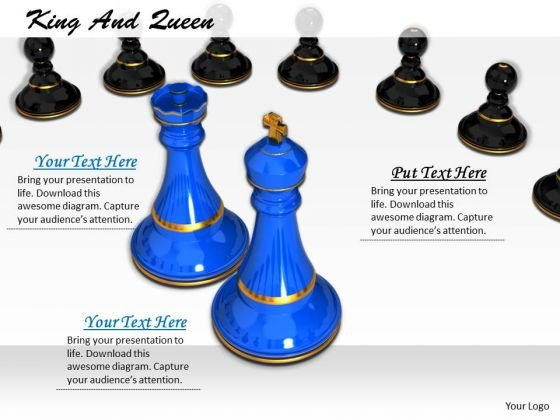 Stock Photo Blue Chess King And Queen With Pawns PowerPoint Slide