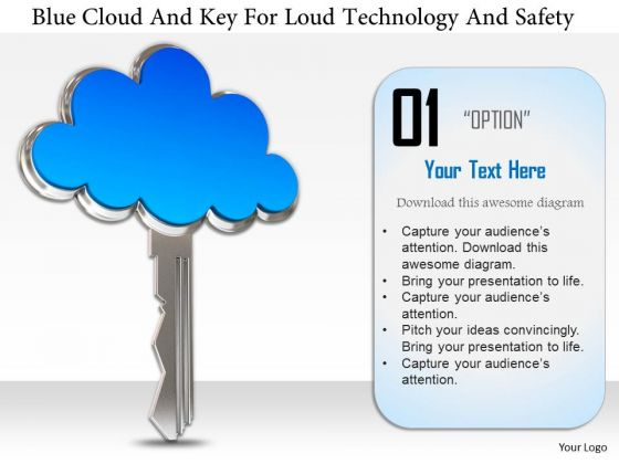 Stock Photo Blue Cloud And Key For Cloud Technology And Safety Image Graphics For PowerPoint Slide