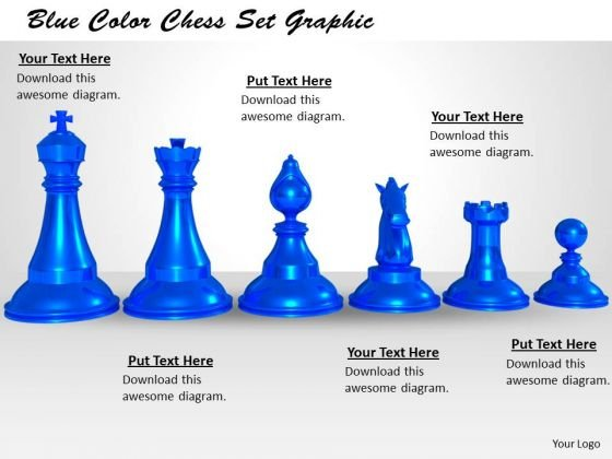 Stock Photo Blue Color Chess Set Graphic PowerPoint Template