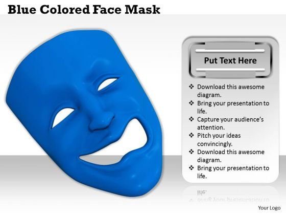 Stock Photo Blue Colored Face Mask PowerPoint Template
