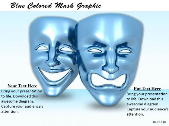 Stock Photo Blue Colored Mask Graphic PowerPoint Template