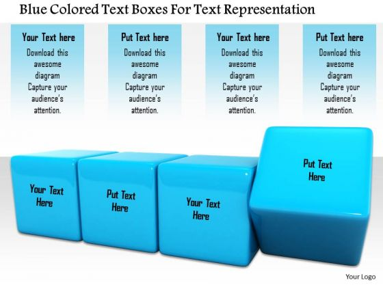 Stock Photo Blue Colored Text Boxes For Text Representation Image Graphics For PowerPoint Slide