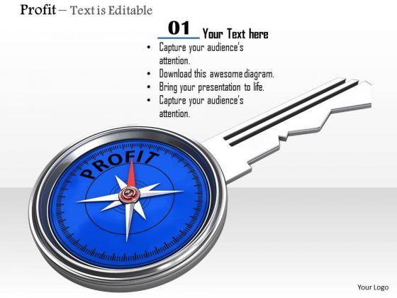 Stock Photo Blue Compass Key Of Profit PowerPoint Slide