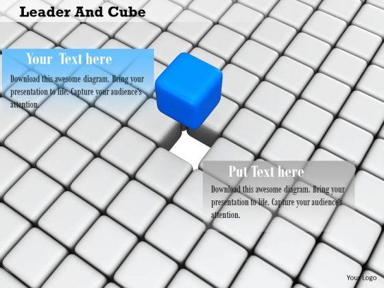 Stock Photo Blue Cube Standing Out PowerPoint Slide
