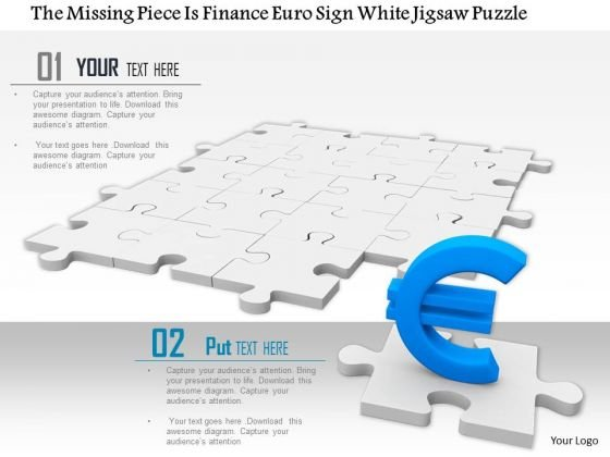 Stock Photo Blue Euro Symbol On White Background PowerPoint Slide