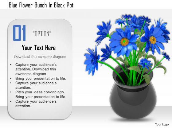 Stock Photo Blue Flower Bunch In Black Pot PowerPoint Slide
