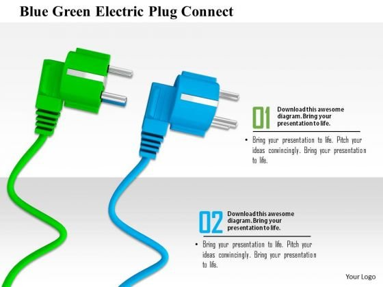 Stock Photo Blue Green Electric Plug Connect PowerPoint Slide