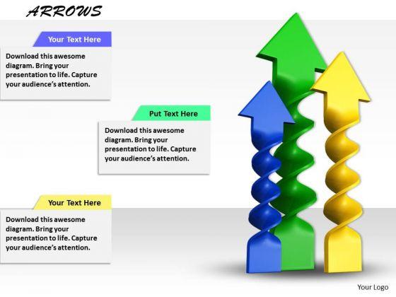 Stock Photo Blue Green Yellow Arrows In Upward Position PowerPoint Slide