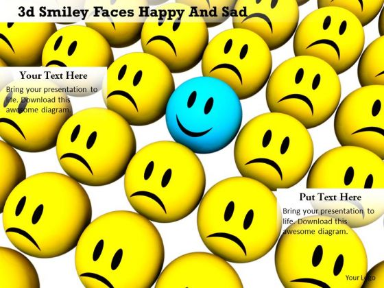 Stock Photo Blue Happy Smiley With Yellow Sad Face PowerPoint Slide