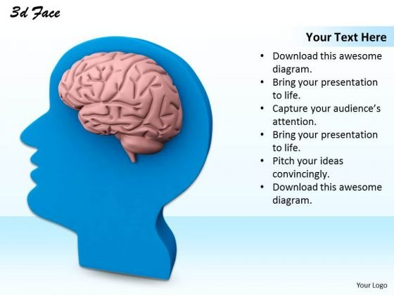 Stock Photo Blue Human Face With Brain PowerPoint Slide