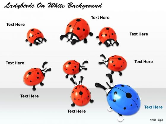 Stock Photo Blue Ladybird In Red Ladybirds PowerPoint Slide