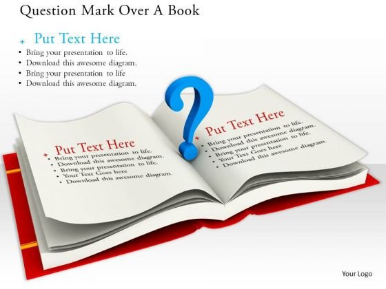 Stock Photo Blue Question Mark Over Open Book PowerPoint Slide