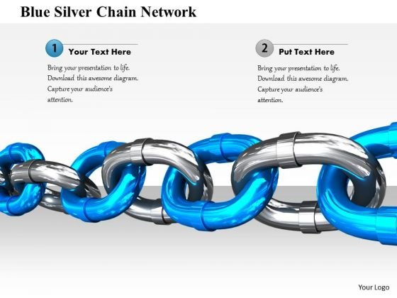 Stock Photo Blue Silver Chain Network PowerPoint Slide