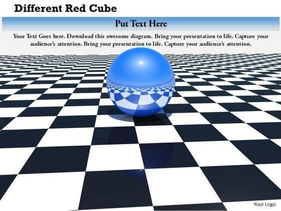 Stock Photo Blue Sphere On Chess Board PowerPoint Slide
