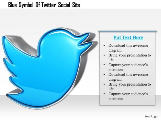Stock Photo Blue Symbol Of Twitter Social Site PowerPoint Slide