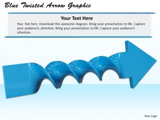 Stock Photo Blue Twisted Arrow Graphic PowerPoint Template